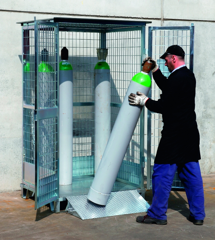 12 cylinder safety cage in use - Gas Cylinder Cages