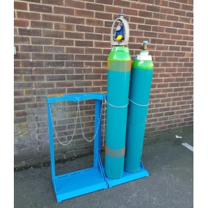 Two Gas Cylinder Storage Racks Joined at Sides
