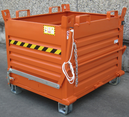 picture of drop bottom skip showing pull cord and forklift attachment